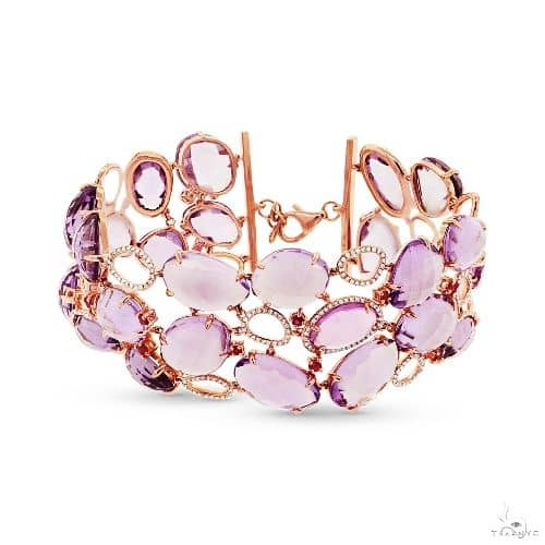 1.48ct Diamond and 117.44ct Amethyst and Pink Sapphire 14k Rose Gold Bracelet Gemstone & Pearl