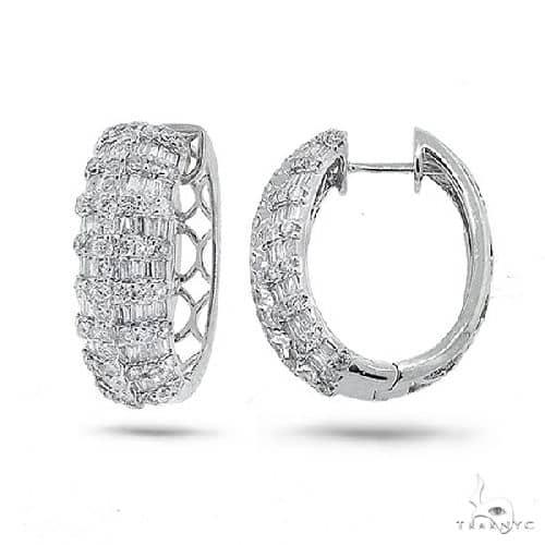 18k White Gold Diamond Hoop Earrings Stone
