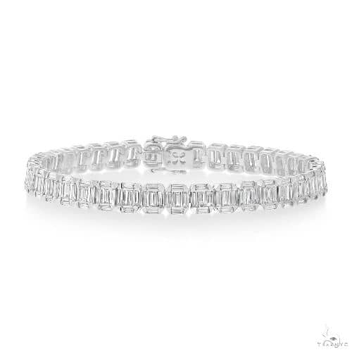 CT 18k White Gold Diamond Baguette Bracelet Diamond