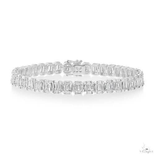 CT 18k White Gold Diamond Baguette Bracelet Diamond