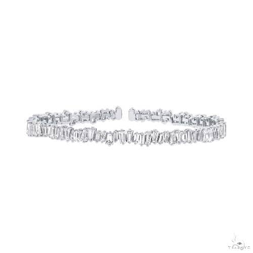 14k White Gold Diamond Baguette Bangle Diamond