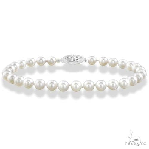 7 inch Akoya Cultured Pearl Bracelet with 14K Gold Clasp  7.0-7.5mm Gemstone & Pearl