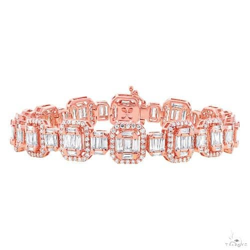 18k Rose Gold Diamond Baguette Bracelet Diamond