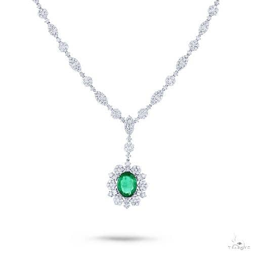 7.64ct Diamond and 4.46ct Emerald 18k White Gold GIA Certified Necklace Gemstone