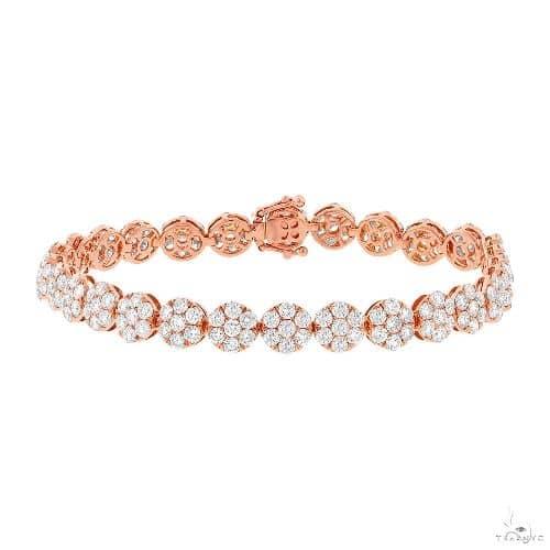 18k Rose Gold Diamond Cluster Ladys Bracelet Diamond