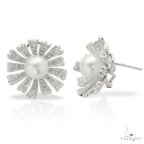 Akoya Pearl and Diamond Flower Earrings Set in 18k White Gold 8-8.5mm Stone
