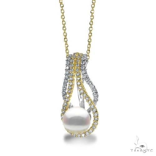 Akoya Pearl and Diamond Twist Pendant Necklace 14k Two Tone Gold 0.46ct Stone
