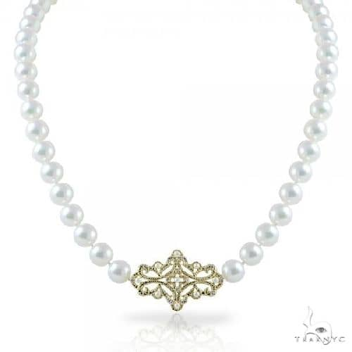 Akoya Pearl Strand Necklace with Diamonds in 14k Yellow Gold 5.6-7mm Stone