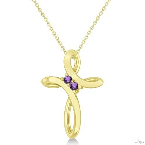 Amethyst Two Stone Religious Cross Pendant Necklace 14k Yellow Gold Stone