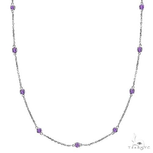 Amethysts Gemstones by The Yard Station Necklace 14k White Gold Gemstone