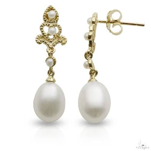 Antique Style Freshwater Pearl Dangle Earrings 14k Yellow Gold 7-7.5mm Stone