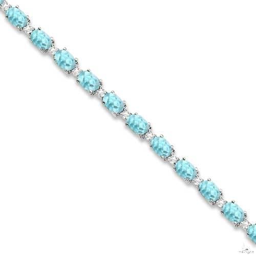 Aquamarine and Diamond Tennis Bracelet 14k White Gold Gemstone & Pearl
