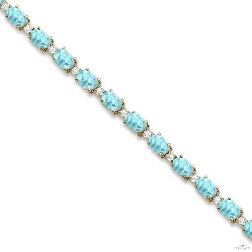 Aquamarine and Diamond Tennis Bracelet 14k Yellow Gold Gemstone & Pearl