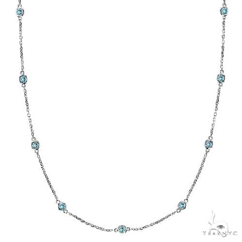 Aquamarine Gemstones by The Yard Station Necklace 14k W. Gold Gemstone