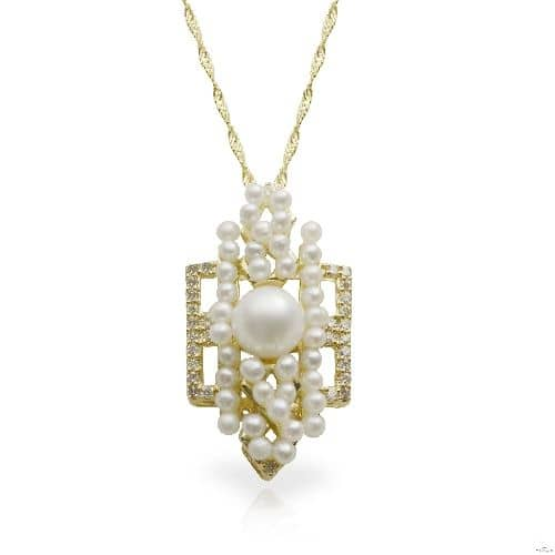 Art Deco Akoya Pearl and Diamond Pendant Necklace 14k Y. Gold 5.5-6mm Stone