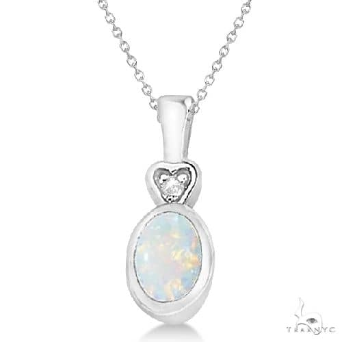 Bezel Set Opal Cabochon and Diamond Pendant in 14k White Gold Gemstone