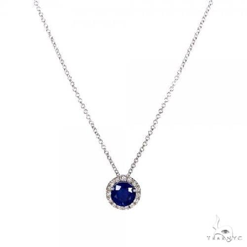 Blue Sapphire and Diamond Halo Pendant Necklace 14k White Gold 0.88ct Gemstone