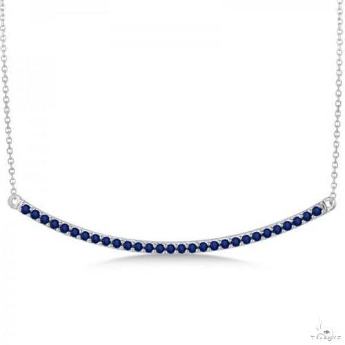 Blue Sapphire Curved Bar Necklace in 14k White Gold Gemstone
