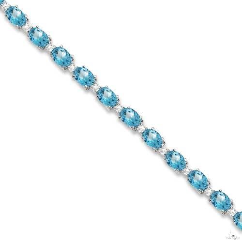 Blue Topaz and Diamond Tennis Bracelet 14k White Gold Gemstone & Pearl