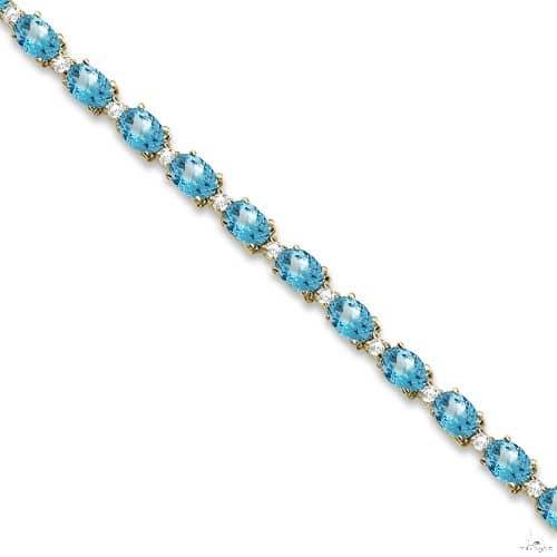Blue Topaz and Diamond Tennis Bracelet 14k Yellow Gold Gemstone & Pearl