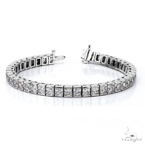 Channel Set Princess Cut Diamond Tennis Bracelet 14k White Gold Diamond