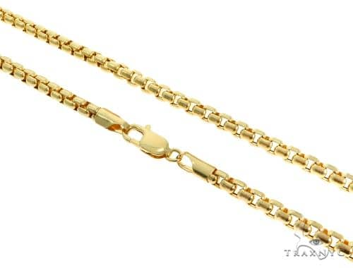 14K YG Round Box Link Chain 24 Inches 4.5mm 29.70 Grams 61365 Gold