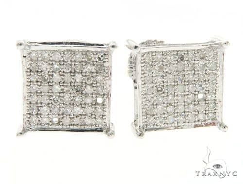14K White Gold Diamond Micro Pave Square Earrings 61424 Stone