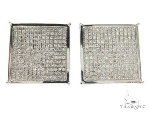 10K White Gold Micro Pave Diamond Square Earrings 61433 Stone