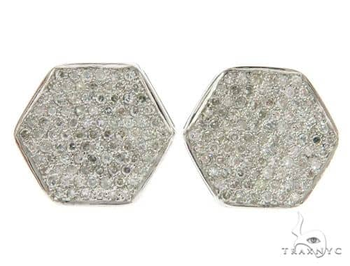 14K White Gold Micro Pave Diamond Earrings 61437 Stone
