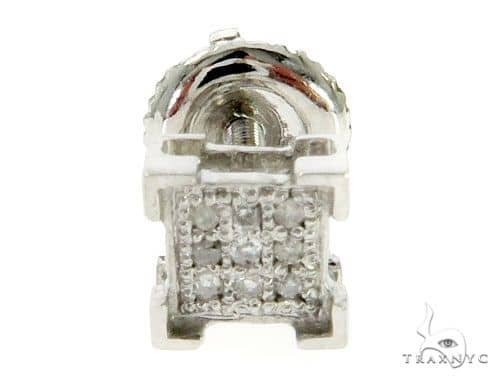 10K White Gold Micro Pave Diamond Small Square Stud Earrings 61438 Stone