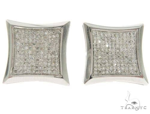 White Gold Micro Pave Stud Earrings 61439 Stone