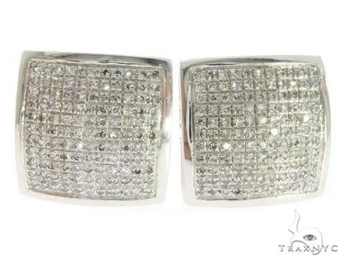 10K White Gold Micro Pave Diamond Dome Square Earrings 61442 Stone