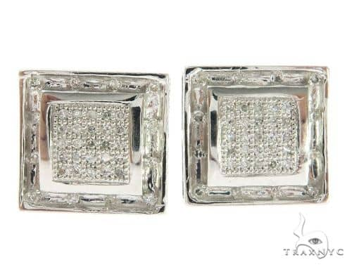14K White Gold Hip Hop Diamond Earrings  61447 Stone