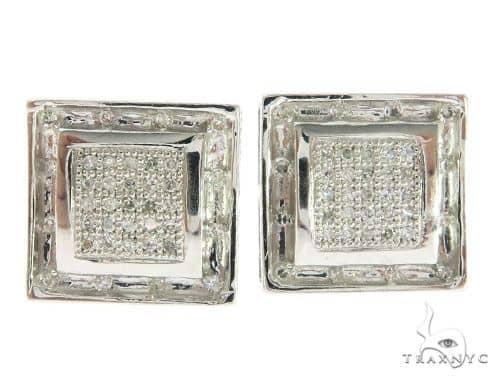 14K White Gold Hip Hop Diamond Earrings  61447 Stone