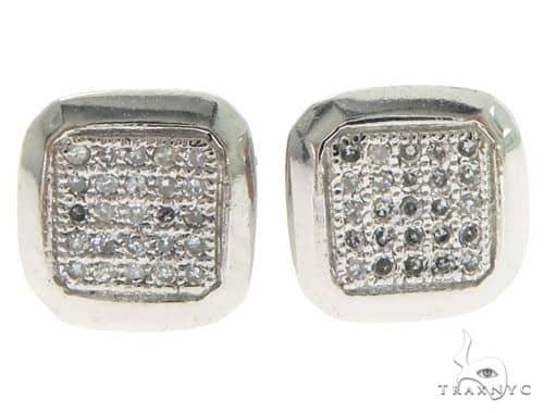 14K White Gold Diamonds Square Earrings 61449 Stone