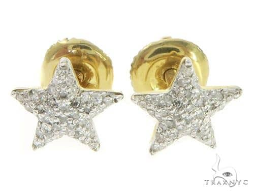 14K Yellow Gold Diamond Small Star Earrings 61452 Stone
