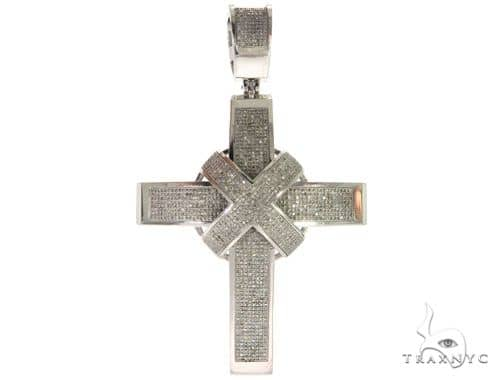 10K White Gold Micro Pave Diamond Cross 61476 Diamond