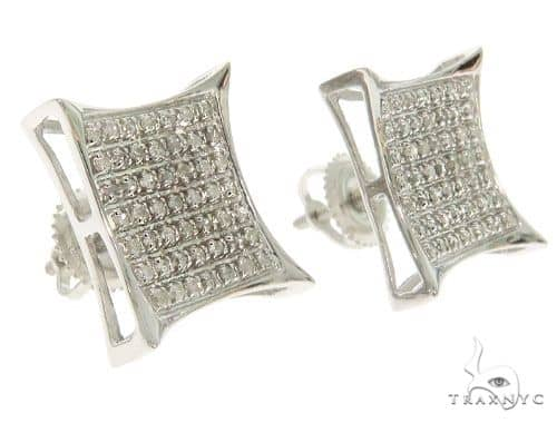 14K White Gold Micro Pave Diamond Square Earrings 61479 Stone