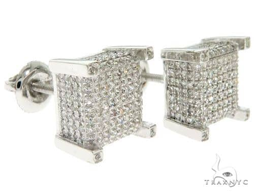 10K White Gold Micro Pave Diamond Square Earrings 61484 Stone