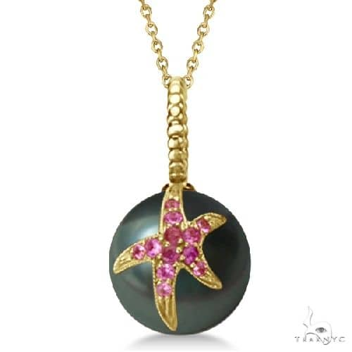 Tahitian Cultured Pearl Starfish Pendant w/ Pink Sapphires 14k Yellow Stone