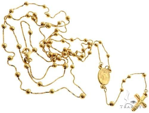 14K Yellow Gold Rosary Chain 36 Inches 1mm 16.9 Grams 61494 Gold