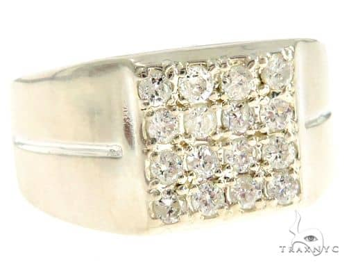 .925 Sterling Silver Prong Diamond Square Top Band 61506 Stone