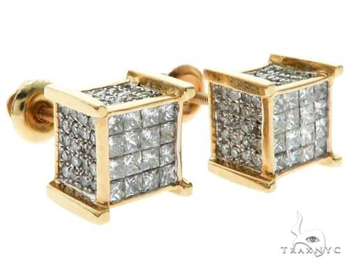 14K YG Micro Pave Invisible Diamond Dice Earrings Stone