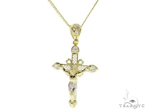 Cross and Diamond Cut Cuban Chain Set 61549 Style