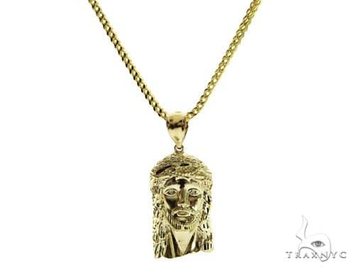 10K Jesus Head Pendant and Franco Link Chain Set 61565 Style