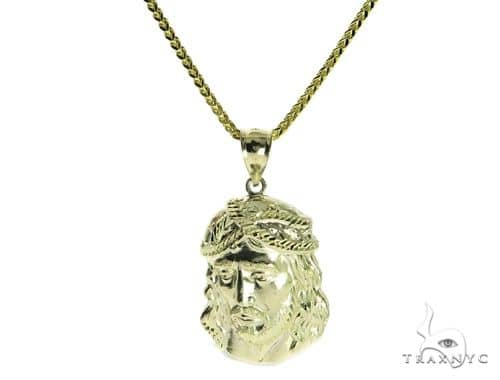 10K Jesus Head Pendant and Franco Link Chain 61566 Style