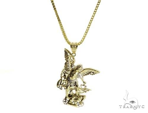 10K St. Michael Pendant and Franco Link Chain 61567 Style