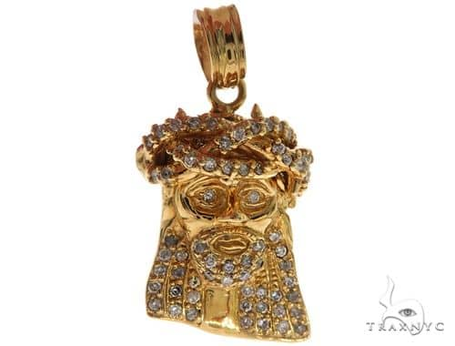 14k Yellow Gold Prong Diamond Small Jesus Pendant 61568 Metal
