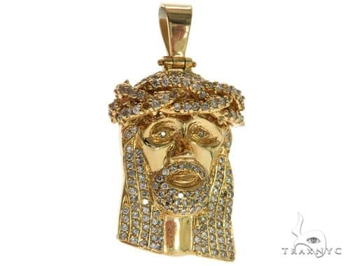 14K Yellow Gold Prong Diamond Jesus Pendant 61569 Metal