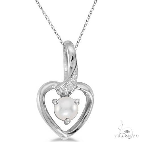 Pearl and Diamond Heart Pendant Necklace 14k White Gold Stone
